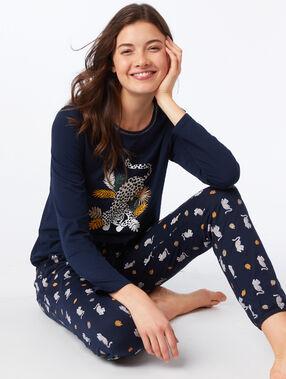 Pantalon motifs léopard marine.
