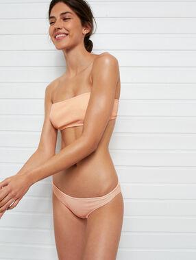 Bas de bikini simple matiéré corail.