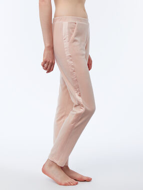 Pantalon homewear velours bande satin rose.