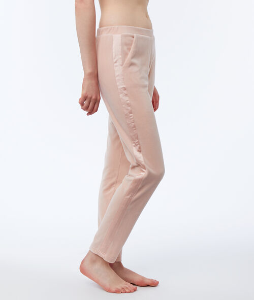 Pantalon homewear velours bande satin
