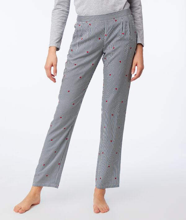 Pantalon à rayures et motifs cœur