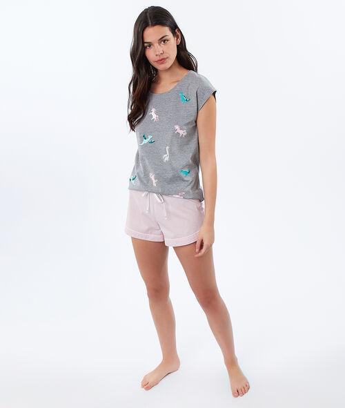 T-shirt imprimé dinosaures et licornes