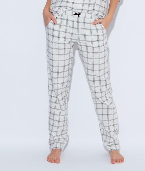 Pantalon en coton mélangé imprimé à carreaux