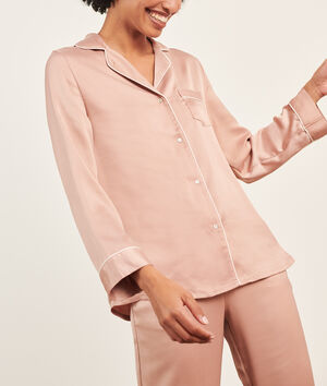 Chemise pyjama d'homme satinée;${refinementColor}