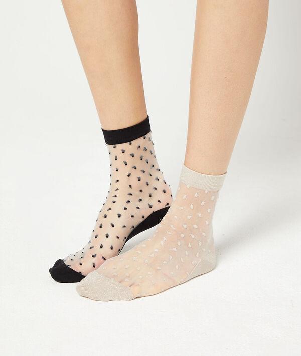 Lot de 2 paires de chaussettes effet plumetis;${refinementColor}