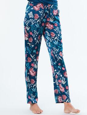 Pantalon satin imprimé bleu.