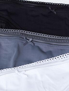 Pack de 3 culottes, bords ajourés noir/bleu/blanc.