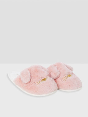 Chaussons lapins rose.