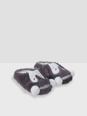 Mules pingouin en fausse fourrure gris.