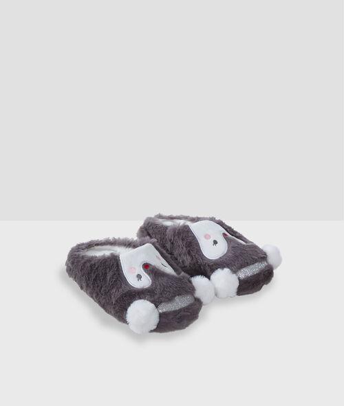 Mules pingouin en fausse fourrure