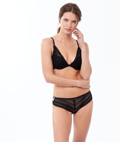 Soutien-gorge n°3 - Triangle push-up résille, bandes brillantes