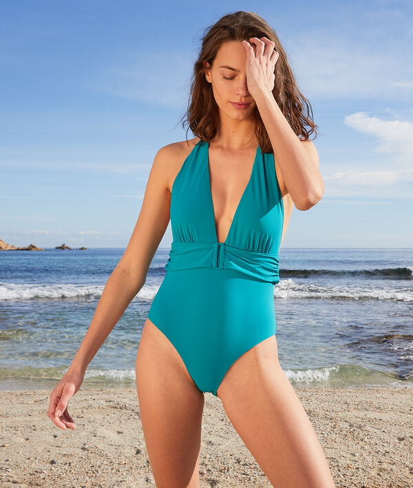 Maillot de bain une pièce foulard sans armatures - ESSENTIELLE - 36 - Vert - Femme - Etam