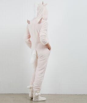 Combinaison pyjama licorne rose pâle.