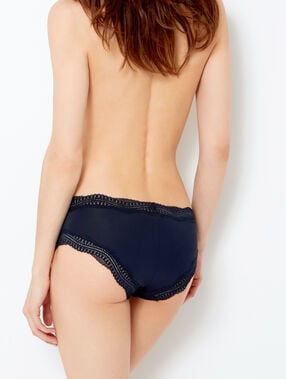 Shorty bords dentelle graphique bleu nuit.