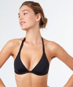 Haut de maillot de bain triangle sans armature noir.