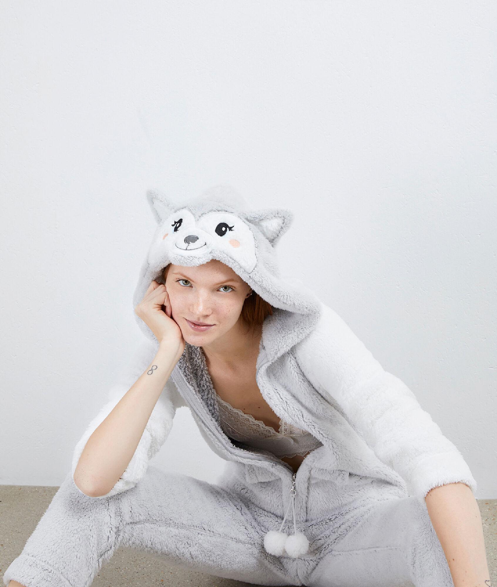 Combinaison pyjama loup - NADEGE - GRIS CLAIR - Etam 1eb7a74dd91