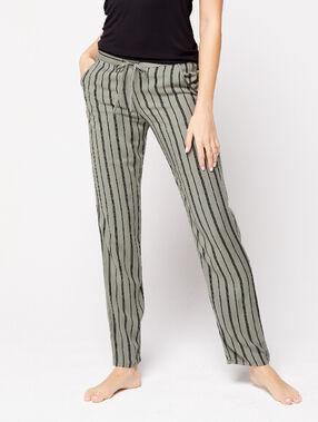 Pantalon noué à rayures kaki.