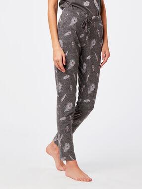 Pantalon imprimé plume gris.