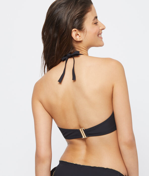 Haut de maillot de bain ampliforme, bords dorés