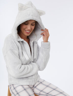 Veste homewear oreilles de chat gris clair.