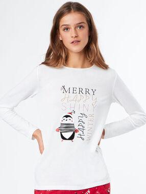 T-shirt imprimé noël blanc.