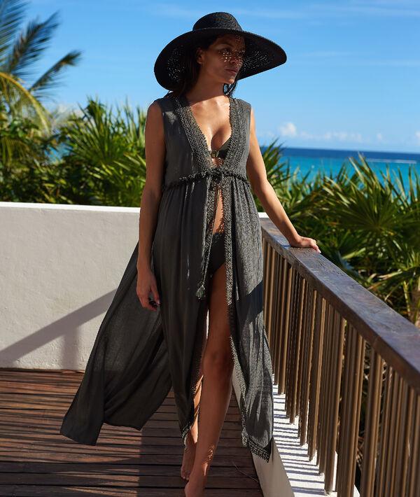 Kimono de plage sans manches;${refinementColor}