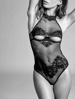 Body string résille, dentelle française noir.