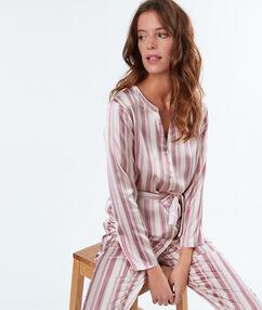 Chemise de pyjama d'homme satin rayé ecru.