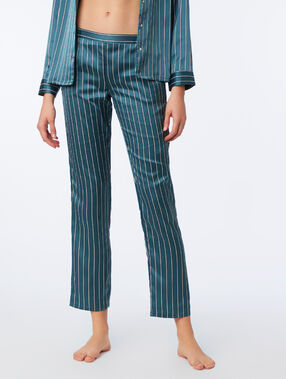Pantalon satiné à rayures vert.
