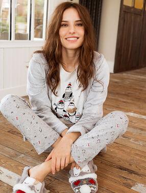 Pyjama 3 pièces blanc.