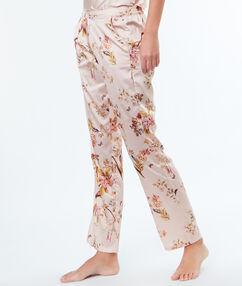 Pantalon satin imprimé fleuri rose poudre.