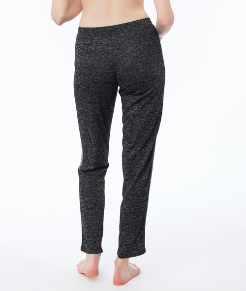Pantalon chiné bande contrastante