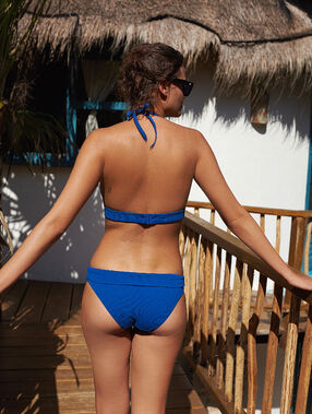 Bas de bikini multiposition bleu.