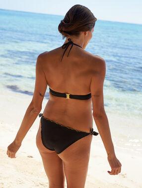 Bas de bikini à nouettes, bords festonnés dorés noir.