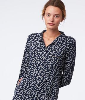 Chemise de nuit imprimé feuillage marine.