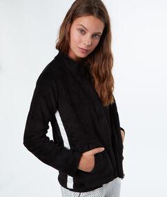 Veste épaisse ultra douce bande contrastée noir.