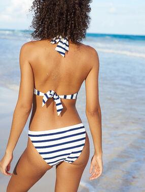 Bas de bikini simple, rayé imprime fond ecru.