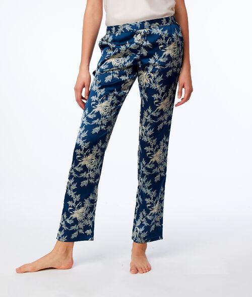 Pantalon satin motif fleuri