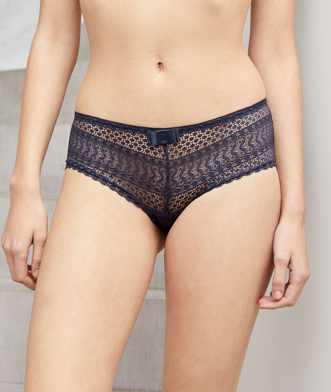 Shorty en dentelle anthracite.