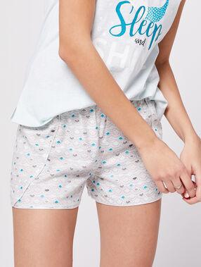 Shorts à motifs coquillage gris.
