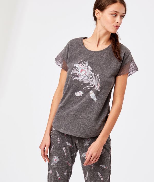 T-shirt manche dentelle imprimé plume
