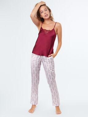 Pyjama 3 pièces bordeaux.