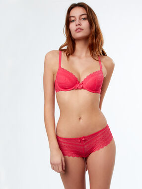 Shorty dentelle fuchsia.