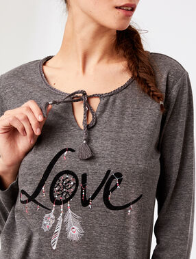 "T-shirt col noué ""love"" anthracite."