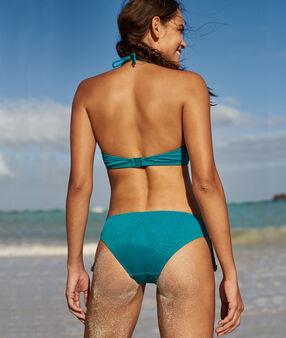 Bas de bikini à nouer bleu canard.
