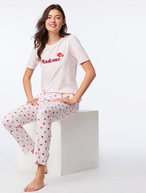 Pantalon à motifs bisous blush.