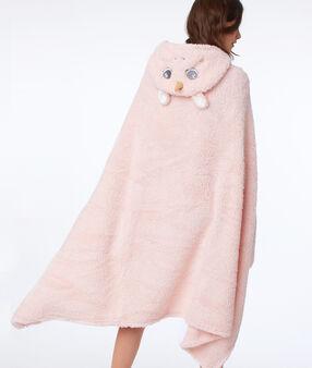Poncho à capuche licorne rose.