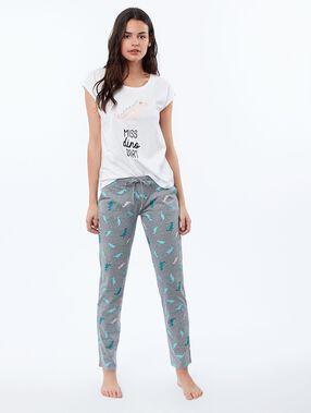 Pantalon imprimé dinosaures gris.