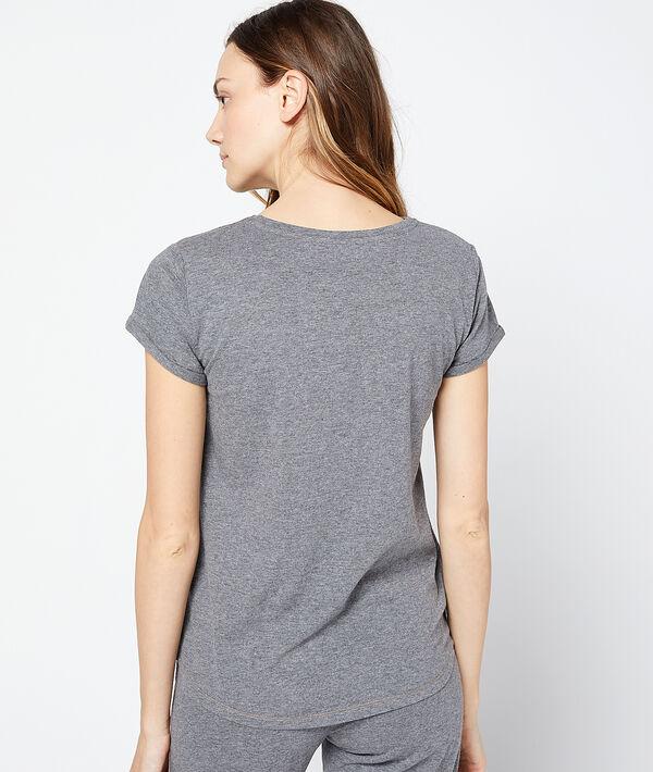 """T-shirt imprimé chat message """"Trop fatiguée"""""""