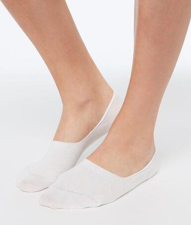 2 paires de socquettes invisibles ecru.